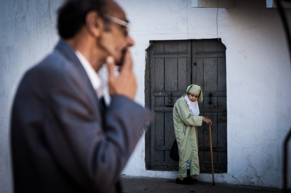 In Tangier a woman walks the old alleys