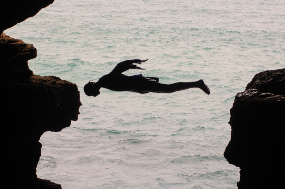 Somewhere along the coast. I cant remember where. It could have been around Tangiers. There was a cave and this guy jumped in.