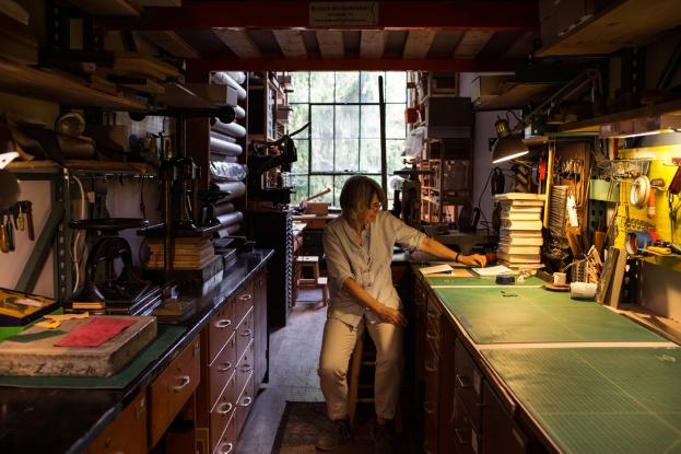 Alice at the Hudson Binding Press. Traditional book binding. Newburgh, NY.