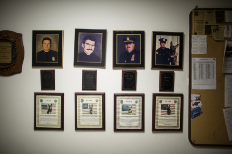 Newburgh Police Station. A tribute to police officers that have been killed in action. Newburgh, NY.