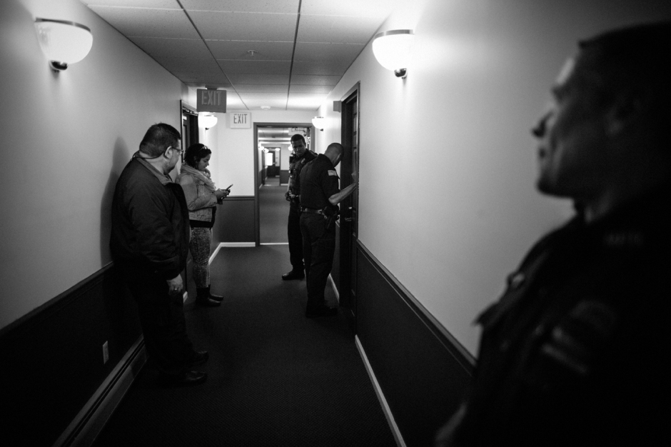 Police respond to a call out for a mentally unstable man. The social services often call the police for help when they feel a situation can get out of hand. , Newburgh, NY.