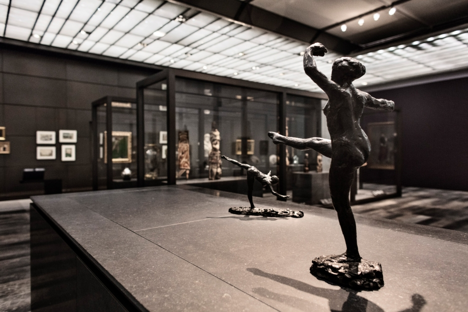 ABU DHABI, UNITED ARAB EMIRATES-November 13, 2017: Dancer, Fourth Position on the Left Leg, Third Study and Dancer Arabesque Over the Right Leg, Right Arm Near the Ground and. Edgar Degas. France Paris 1921-1931. Bronze. Muse'e d'Orsay. Louvre Abu Dhabi CREDIT: Katarina Premfors/The New York Times