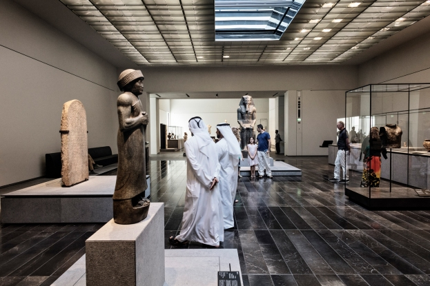 ABU DHABI, UNITED ARAB EMIRATES-November 13, 2017: Visitors to the Louvre Abu Dhabi in the First Great Powers Gallery. Louvre Abu Dhabi CREDIT: Katarina Premfors/The New York Times