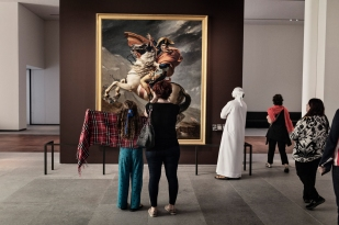 ABU DHABI, UNITED ARAB EMIRATES-November 13, 2017: Painting of Napolean Bonaparte, 1st Consul, Crossing the Alps on May 1800. Jaques-Louis David. France 1803. Oil on canvas, on loan from Muse'e national des chateaux de Versailles. Louvre Abu Dhabi CREDIT: Katarina Premfors/The New York Times